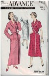 Wrap style robe and housecoat 1950s