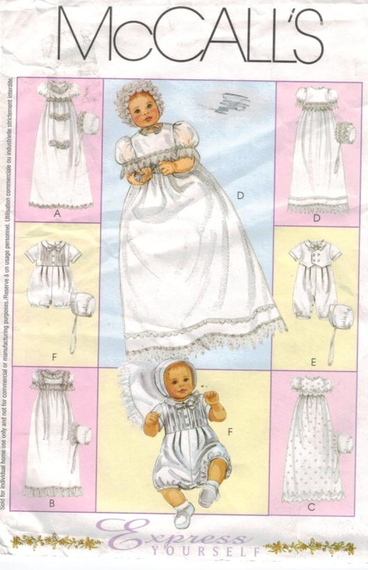 Mccalls Pattern 3063 Baptism Christening Bonnet Dress