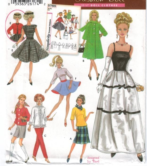 Pattern 5785 barbie doll gown skirt dress shorts tops sewing pattern