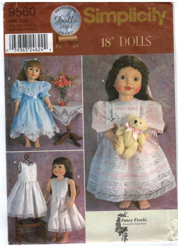 Simplicity Pattern 9560 18 Doll Heirloom Dress Designer