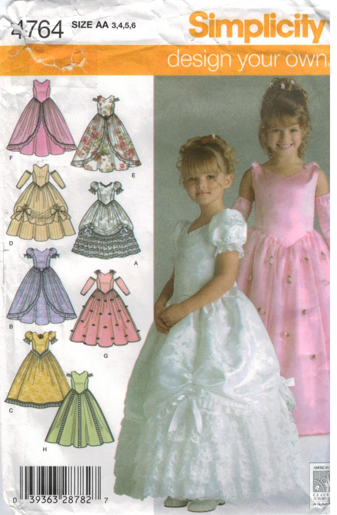 Simplicity Pattern 4764 Toddler And Girls Pagent Formal