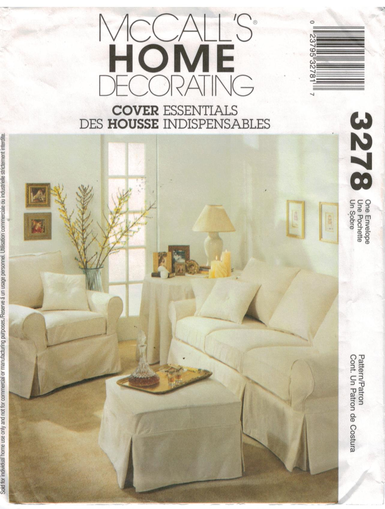 Mccalls Pattern 3278 Home Decorating Slipcover Sewing