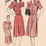 Vintage dress pattern with buttons, lace trim and scallop edgings