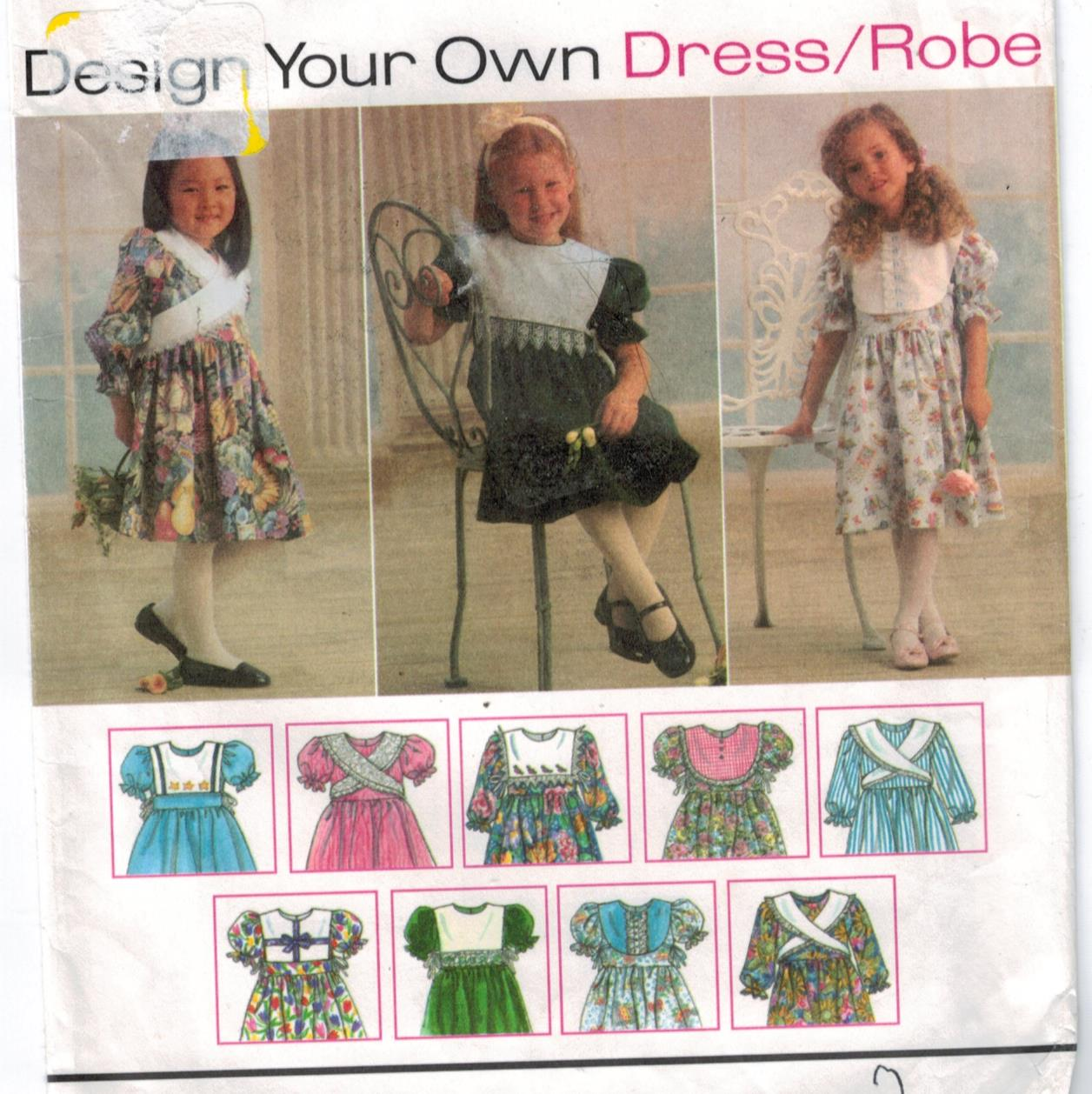 Make Your Own Dress Design: Simplicity Pattern 9297 Girls Dresses And Collars Design