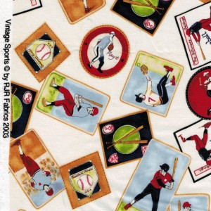 Rjr Fabrics Vintage Baseball Sports Print Cotton Quilting