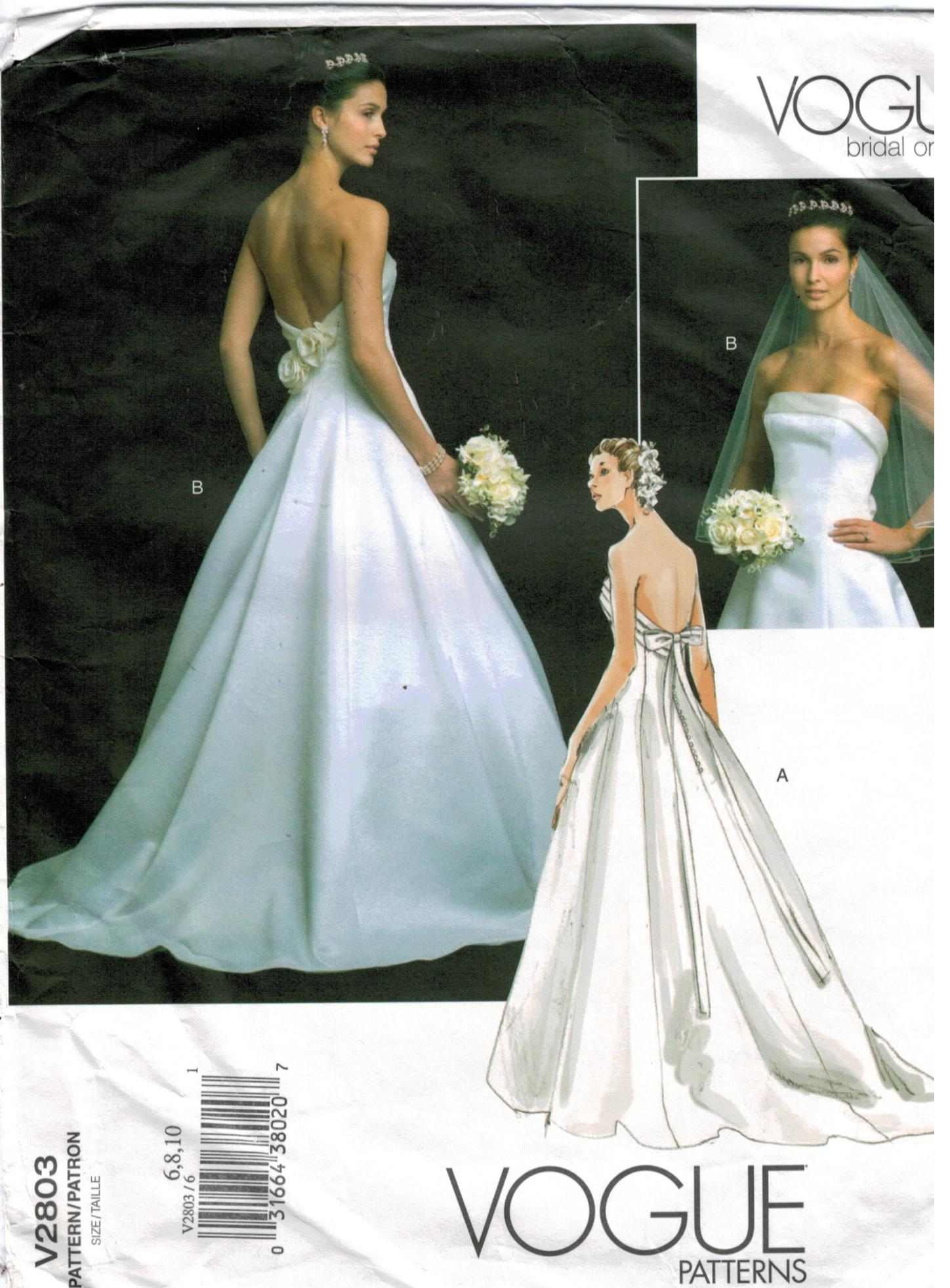 Vogue Pattern 2803 Bridal Wedding Bridesmaid Gown Original