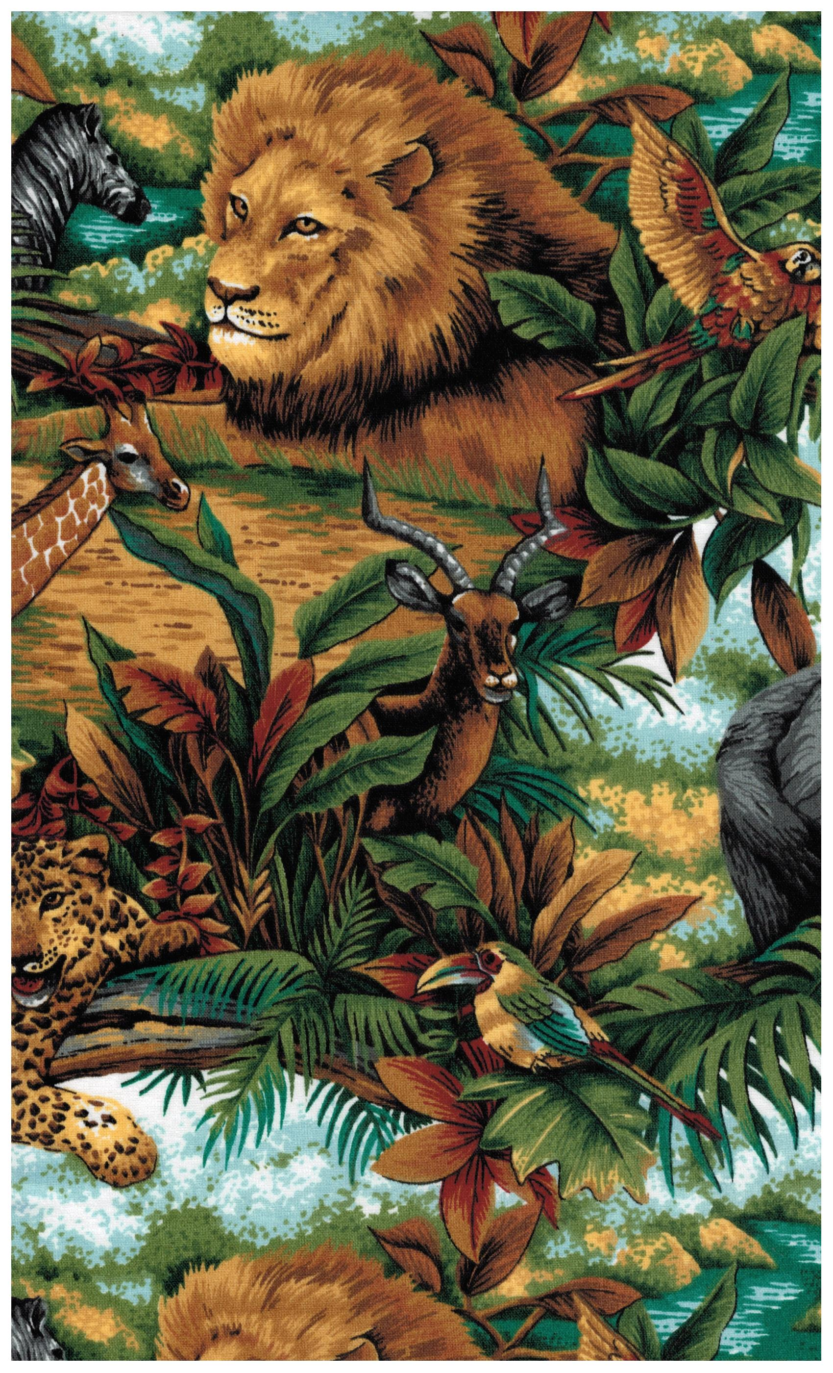 Spring industries fabric jungle print lion elephant for Childrens jungle print fabric