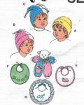 Cute, cozy hats and bibs for baby, plus cuddly lamb toy