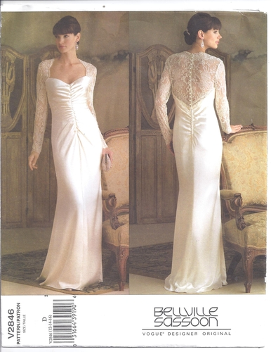 Vogue pattern 2846 size 12 14 16 wedding bridal gown for Sewing patterns wedding dress