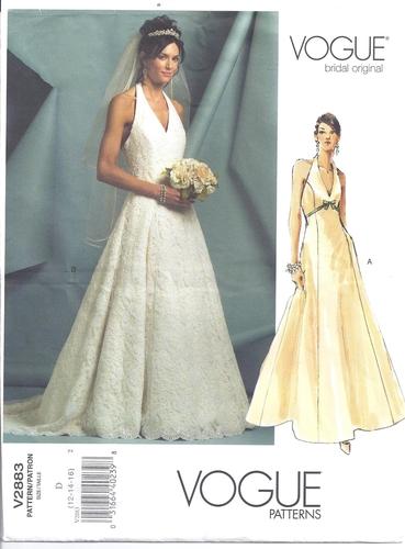 Vogue Pattern 2883 Wedding Gown Halter Bridal Original Size 12/14/16 ...