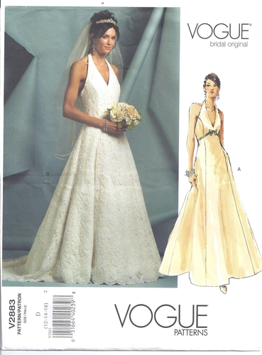 Vogue pattern 2883 wedding gown halter bridal original for Sewing patterns wedding dress
