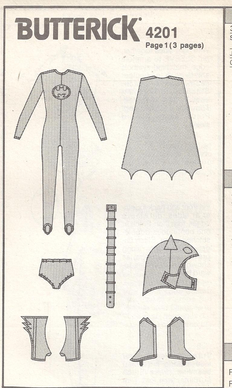 Butterick Pattern 4201 Batman Costume For Boy S Size 7 14