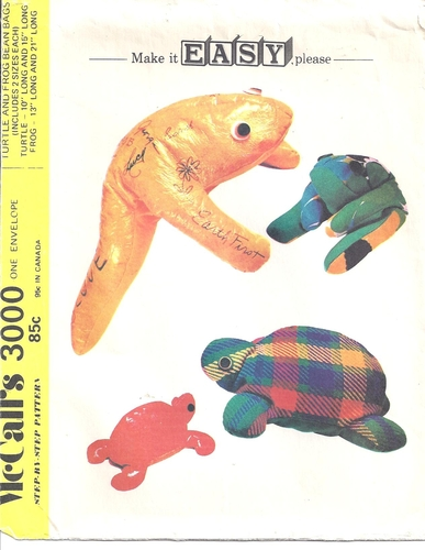 Mccalls Pattern 3000 Bean Bag Toys Frog And Turtle Beanie