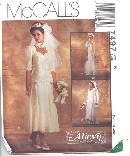 McCalls Sewing Pattern 7497 Bride Wedding Gowns Alicyn Size 6 ...