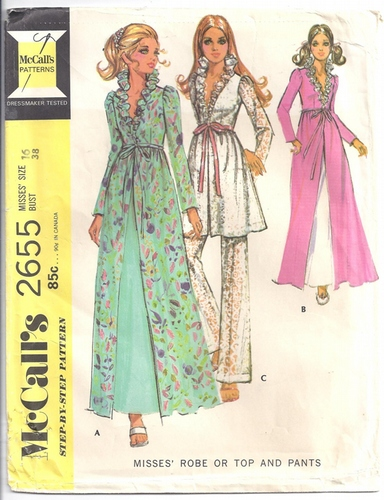 Mccalls Sewing Pattern 2655 Lingerie Robe Top Pants Peignoir Set