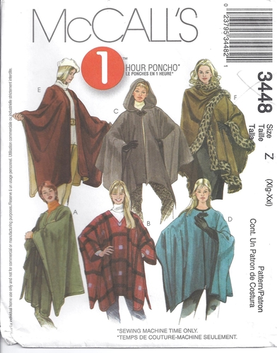 McCalls Pattern 40 Poncho Jiffy Plus Sizes XL XXL Sewing Cool Mccalls Pattern