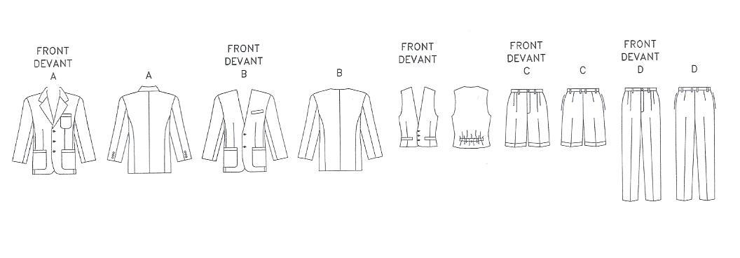 Vogue Pattern 1753 Mens Jacket, Vest, Shorts, Pants 44,46,48 ...