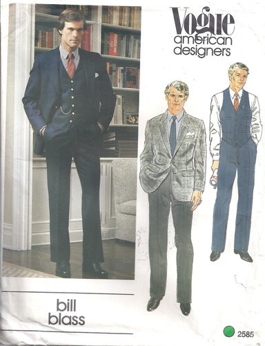 Vogue Pattern 40 Men's Bill Blass Suit Size 40 Classic Style Enchanting Mens Suit Sewing Patterns