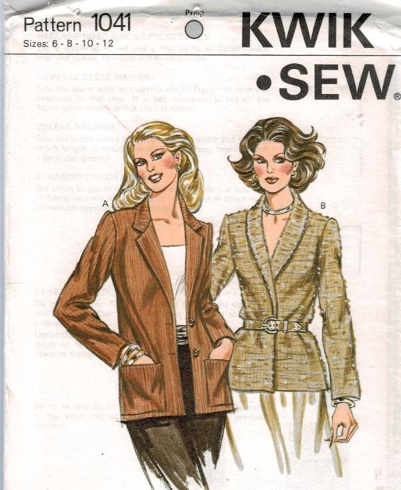 Kwik Sew Pattern 1041 Jackets Notched And Shawl Collar Belted
