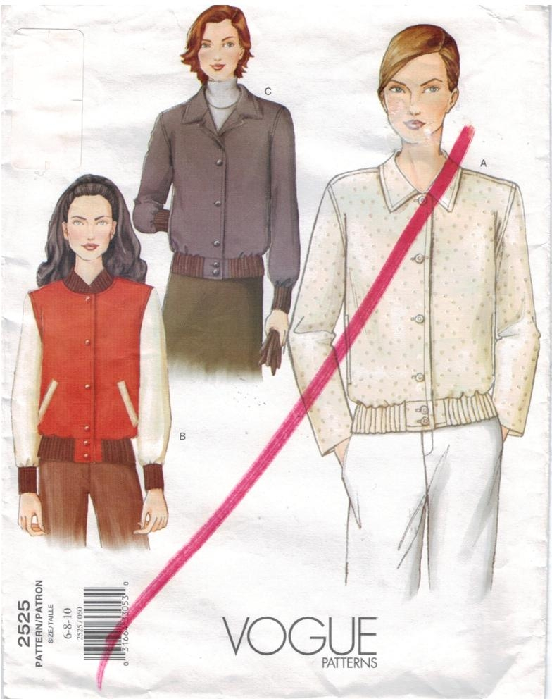Vogue Pattern 2525 Baseball Sports Jackets for Misses size 6 8 10 ...