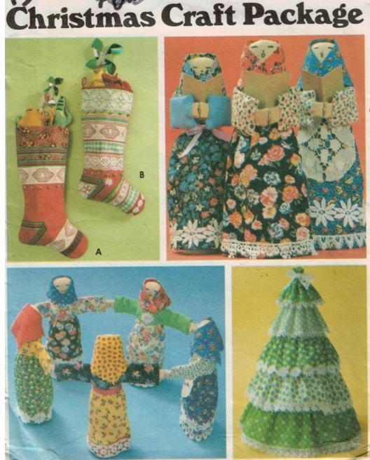 Butterick Pattern 5709 Folk Doll Stocking Tree Christmas package ...