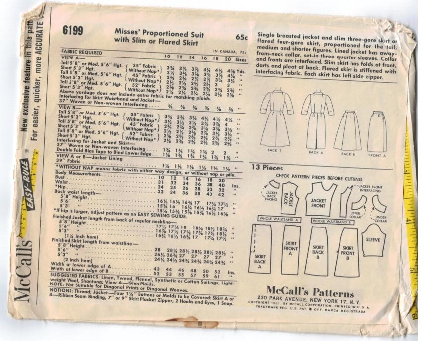 McCalls Pattern 6199 Suit 1960s Jacket and skirt size 16 – Sewing ...