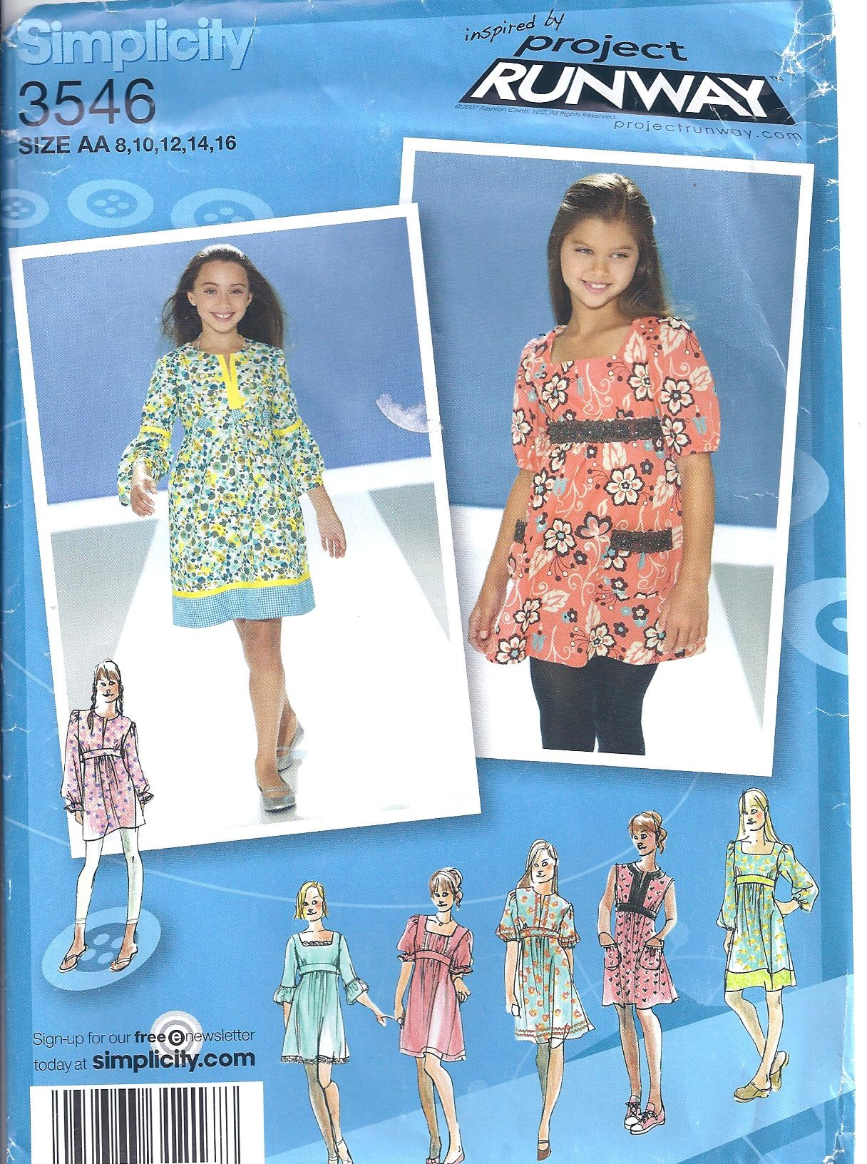 Simplicity Pattern 3546 Project Runway Girls Top And Dress Sewing Pattern Heaven
