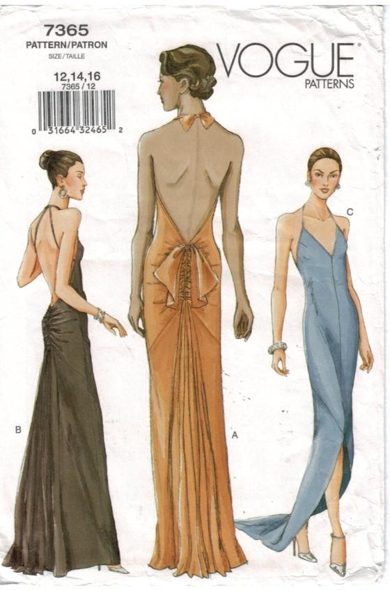 Vogue Pattern 7365 Evening Gowns Lacing Halter size 12,14,16 ...