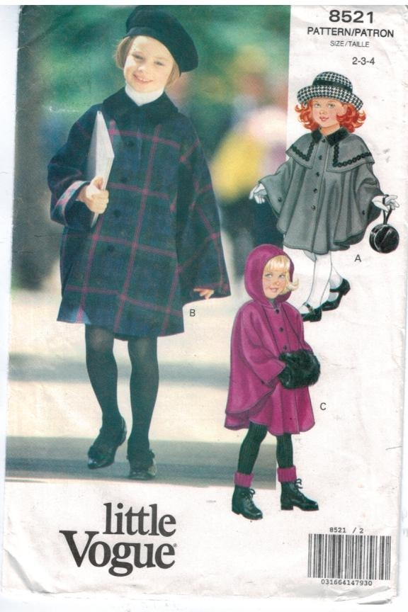 Vogue Pattern 8521 Girls Cape Hooded Size 2 3 4 Toddler – Sewing ...