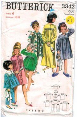 Butterick Pattern 3342 Pajamas Robe Baby Doll PJs size 6 vintage 61a669d89