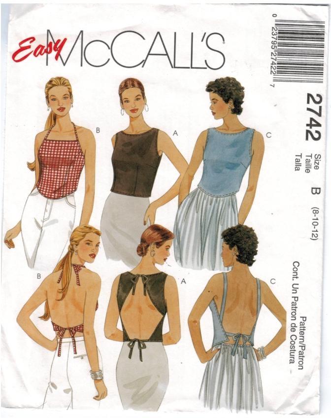 McCalls Pattern 2742 Summer Tops halter wrap around Size 8 10 12 ...