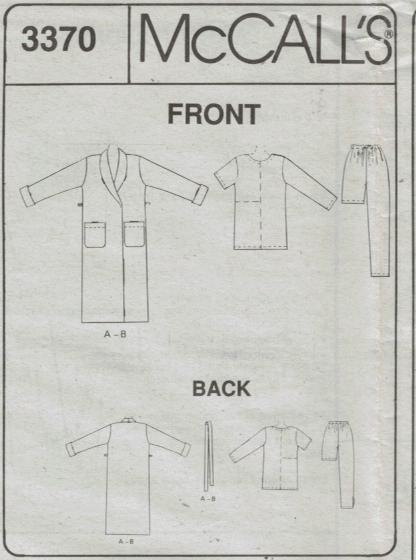 McCalls 3370 Size LG – XL Easy Pajama and Robe Pattern – Sewing ... 821eef2ba