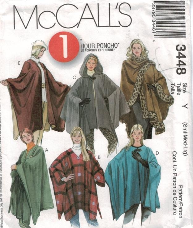 McCalls Pattern 3448 Easy Poncho Cape Wrap sizes small med large ...
