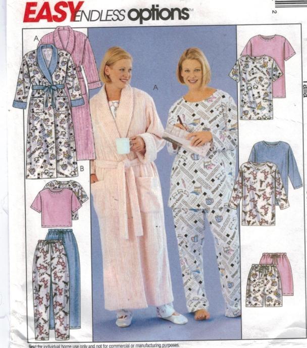 McCalls Pattern 3454 Plus Size Pajamas and Robe 26W through 32W ...