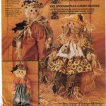 Cute 27 inch Girl and Boy Scarecrows plus 7 inch black bird.