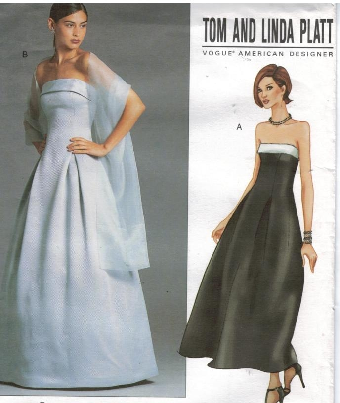 Vogue Pattern 2376 Strapless Evening Gowns And Stole Size