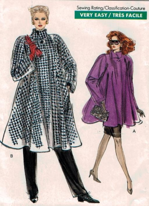 Vogue Pattern 7322 Swing Coat High Collar Size 8 10 12 – Sewing ...