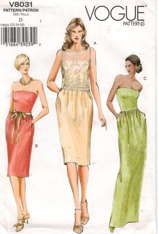 vogue pattern 8031 strapless gown dress sheer top � sewing
