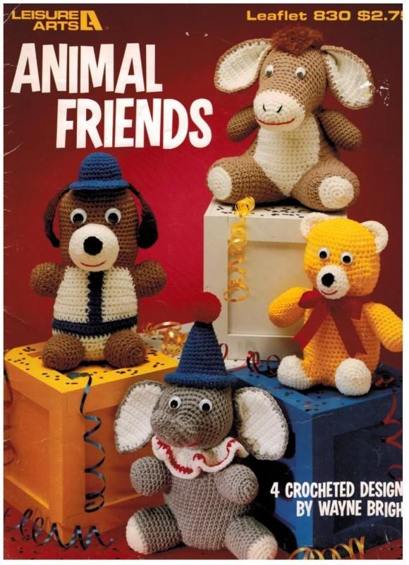 Crochet Stuffed Animal Toys Dog Bear Donkey Elephant Sewing