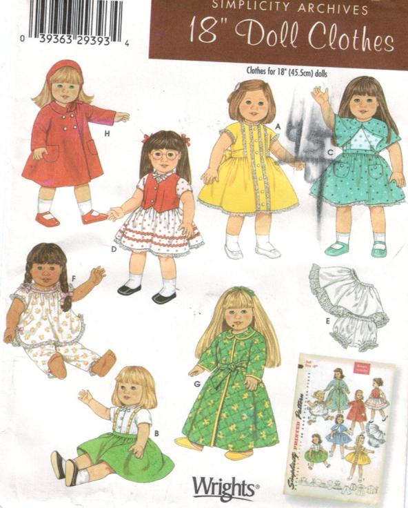 Simplicity Pattern 4347 American Girls 18 Doll Clothes Sewing