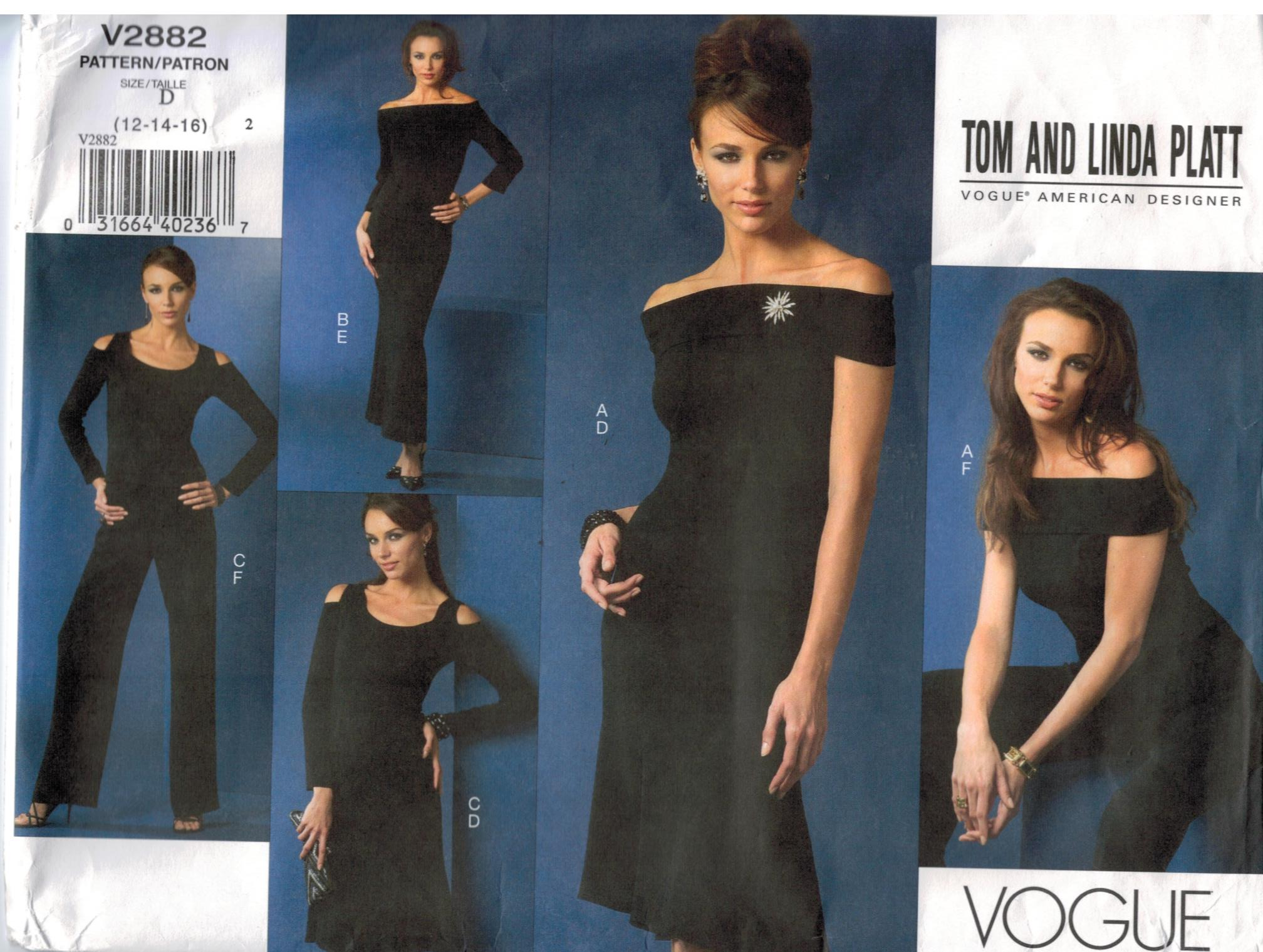 b8c47ff8286 Designer evening dresses top pant and skirt Vogue Pattern 2882 Sizes ...