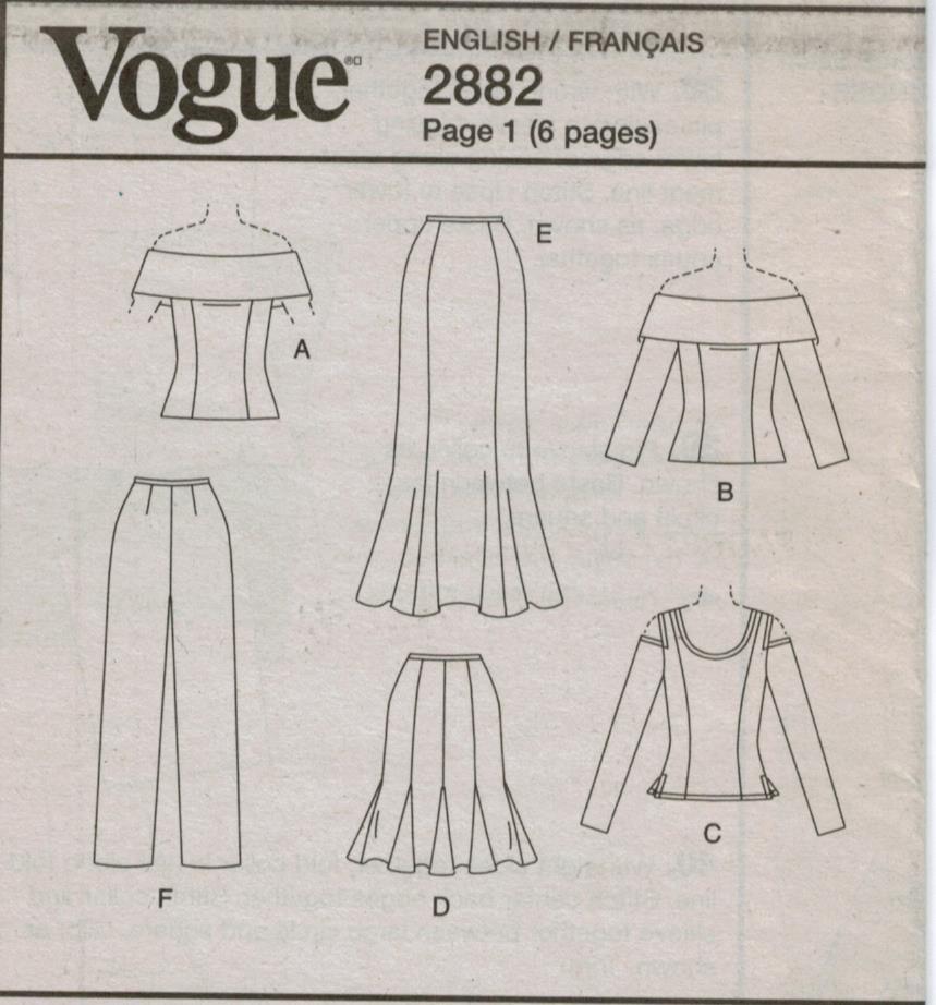 Vogue Pattern 2882 Designer Evening Dress Skirt Top Pants