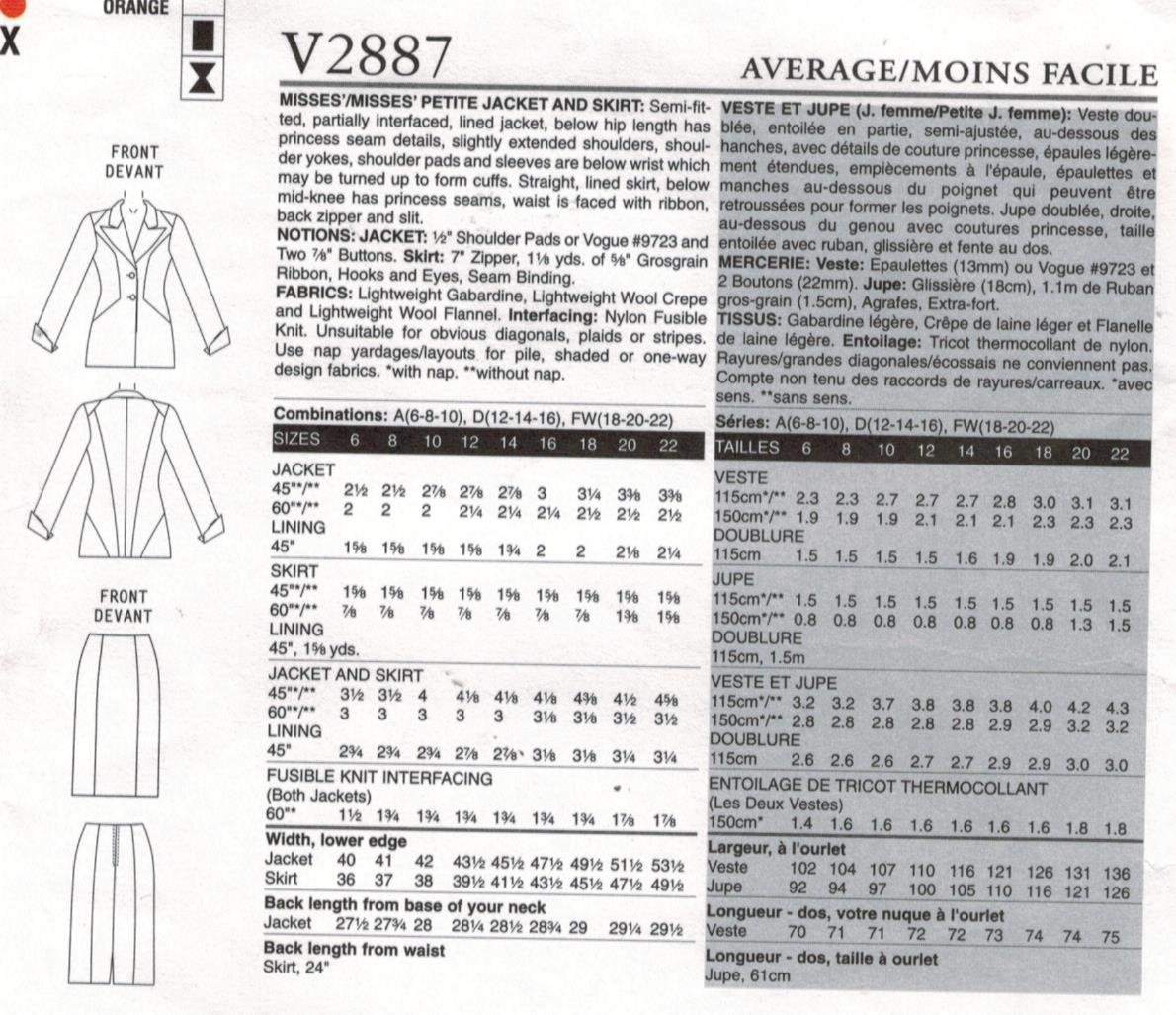 Vogue Sewing Pattern 2887 Couture Jacket and Skirt Sizes 18 20 22 ...