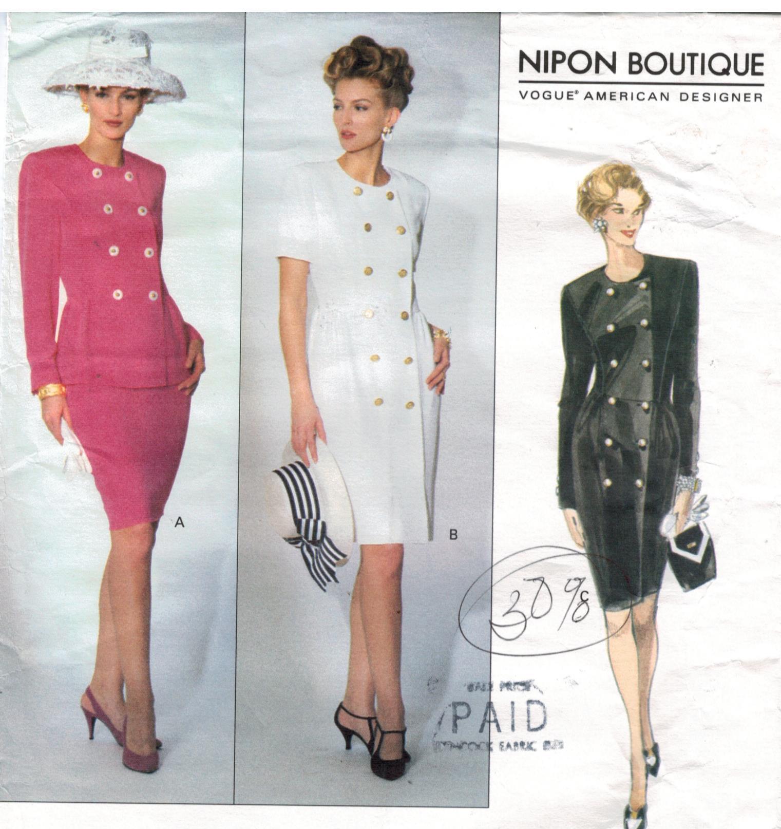 Vogue pattern 2889nipon boutique designer double breasted dress vogue pattern 2889nipon boutique designer double breasted dress jacket and pants size 12 14 16 jeuxipadfo Image collections