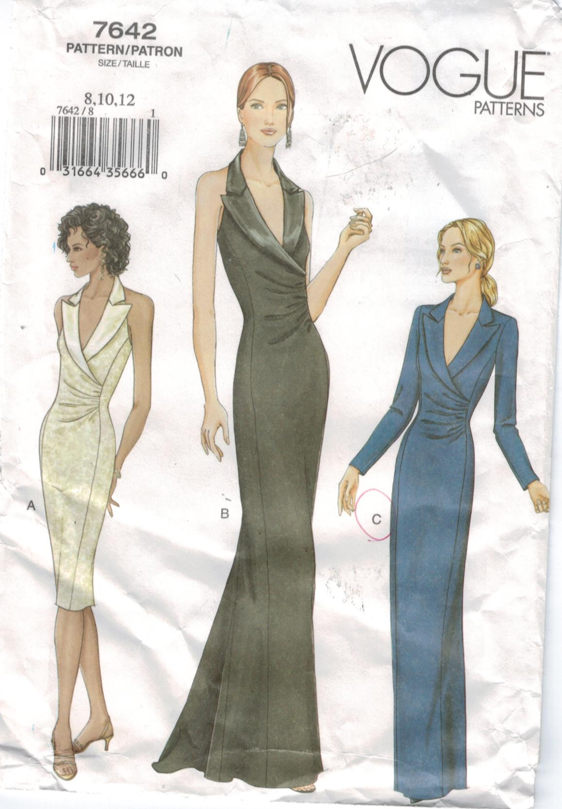 Vogue Pattern 7642 Evening Gowns Halter Short and Long tuxedo collar ...
