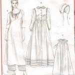Dress, Apron, Slip, Pantaloons and Bonnet