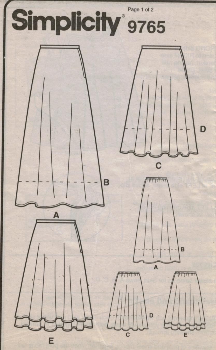 simplicity 9765 easy skirt pattern a line and