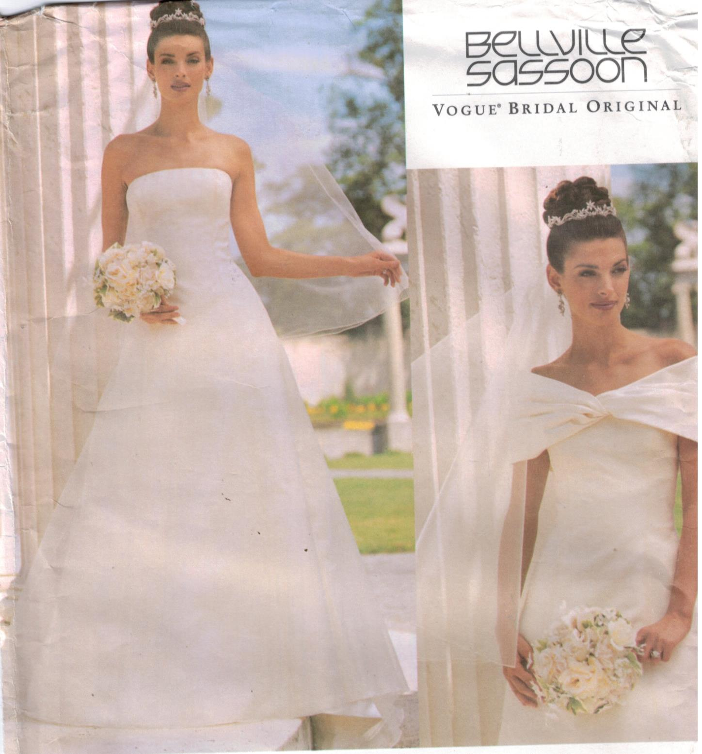 Vogue Pattern 2717 Wedding Gown Strapless Princess Style With Stole Misses 18 20 22