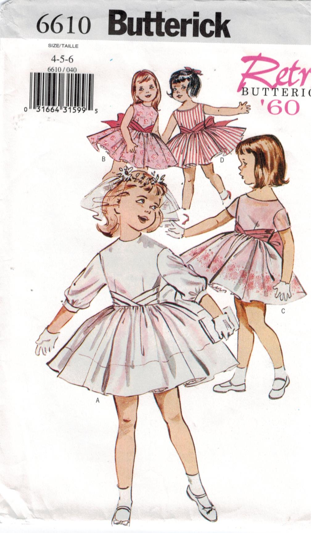 Butterick Pattern 6610 Girls Dresses With Full Skirts