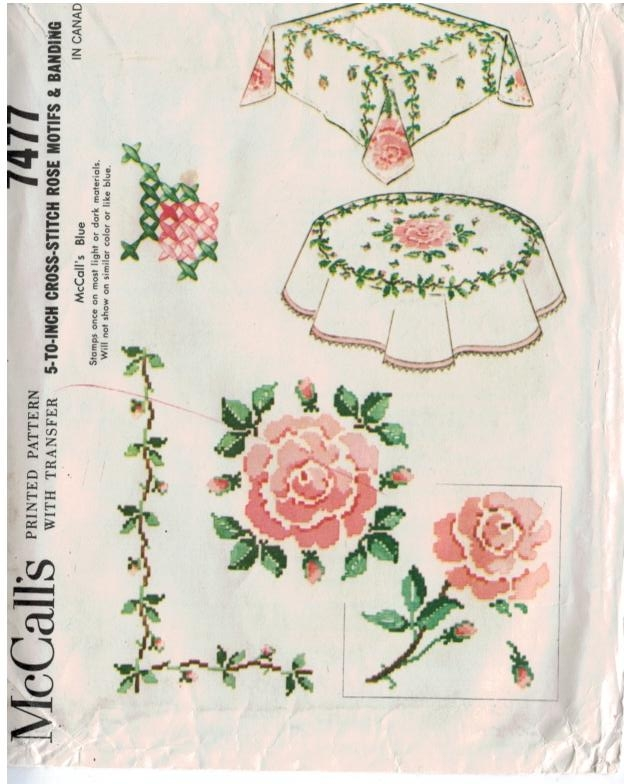 Mccalls Pattern 7477 Rose Motif Cross Stitch For Tablecloths Sewing Pattern Heaven
